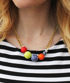 DIY Simple Statement Necklace from A Beautiful Mess