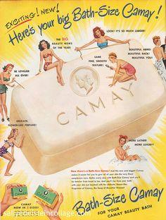Yellow, white: vintage advertising, camay soap