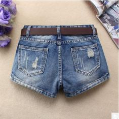 Womens Middle Waist Hole Denim Shorts Spring Summer Ripped Female Sexy Jeans Short Bermuda Femme Without Belt Blue Jean Shorts, Denim Shorts, Sexy Jeans, Short Jeans, Summer Shorts, Fashion Pants, Sexy Women, Female, Middle