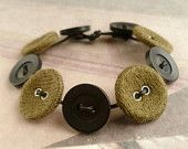 Olive Green & Black Recycled Button Bracelet