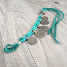 Gypsy Coin Bracelet or Anklet Turquoise Buckskin by GypsyIntent