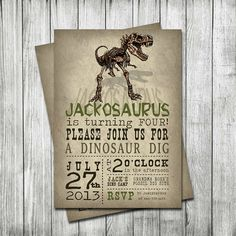 Dinosaur Invitations, DIGITAL FILE, Birthday Invitations, Invites, Dino Dig, Customized by MadJax Design and Print on Etsy, $18.75