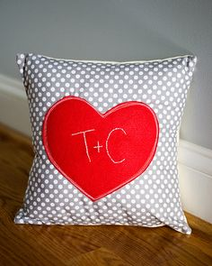 Love Valentine's Day Pillow Applique Embroidered Couple's Initials. $25.00, via Etsy.