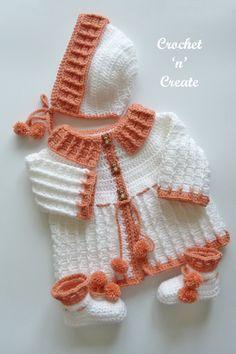 Crochet Baby Cardigan Free Pattern, Layette Pattern, Crochet Baby Sweaters, Baby Sweater Patterns, Baby Girl Sweaters, Baby Girl Crochet, Crochet Baby Clothes, Baby Knitting Patterns, Baby Patterns