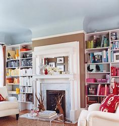 Love the contrasting color of ceiling and wall.  Domino magazine