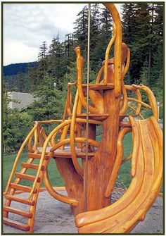 Natural wood playset.