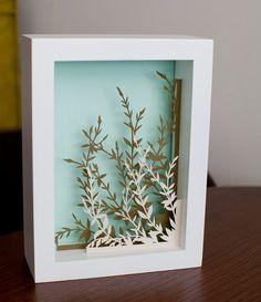 wildflowers  5 x 7 cut paper shadow box  hand cut by birdmafia, $75.00