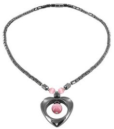"""Magnetic Hematite & Pink Cat eye Beads Necklace 18"""""""