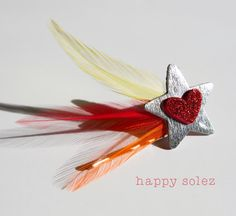 New! Shooting Start Bobby Pin with Heart