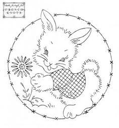 Bunny - Vintage redwork transfer pattern