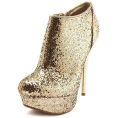 Metallic Heel Glitter Bootie ($46) ❤ liked on Polyvore