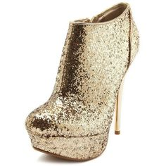 Metallic Heel Glitter Bootie (41 BRL) ❤ liked on Polyvore featuring shoes, boots, ankle booties, heels, high heels, sapatos, champagne, faux-fur boots, high heel booties and heeled booties