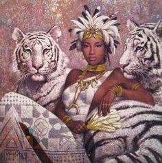 Une beauté africaine et ses deux tigres blancs ! #myfashionlove #mode #attitude…