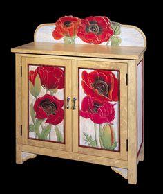 Decoupage Furniture, Paint Furniture, Furniture Makeover, Felt Flower Pillow, Furniture Restoration, Colorful Furniture, Bookcases, Felt Flowers, Mosaics