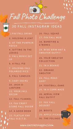 List of 30 Fall Photo ideas for the Fall Photo Challenge! 30 Fall photography ideas to give your serious fall vibes! Pin it, sip your pumpkin spice latte, and snap some shots! Herbst Bucket List, Autumn Bucket List, Thanksgiving Bucket List, Autumn To Do List, Halloween Bucket List, Halloween Movies List, Halloween Movie Night, Autumn Photography, Photography Ideas