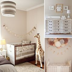 But Neutral Is Nice: If you're not finding out your baby's gender or if creating a calming space is your design goal, a neutral nursery is totally on trend. Khaki stripes and a burlap bunting add some design interest to Scarlett's shared room, while an all-white nursery created by interior designer Susan Hutchinson for her boy/girl twins looks simply angelic. In baby Rylee's nursery, muted shades of peachy pink against soft gray walls set the tone for the delicate, feminine space with a…