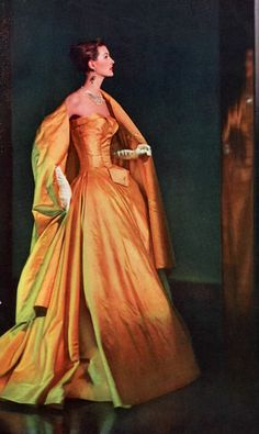 Balenciaga, 1958 @Josephine Kimberling Kimberling Kimberling vogel 50s 60s formal evening gown gold yellow lame satin full skirt strapless wrap color photo print ad model magazine designer vintage fashion style