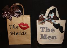 bridesmaid and groomsmen gift bags by TwoGrapes on Etsy Groomsmen Gift Bags, Bridesmaids And Groomsmen, Groomsman Gifts, Wedding Bridesmaids, Bridesmaid Gifts, Groom Gifts, Gifts For Wedding Party, Wedding Wishes, Party Gifts