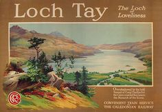 1918 Loch Tay with local flora a Caledonian Railway poster for travel to the central highlands of Scotland, Perthshire UK