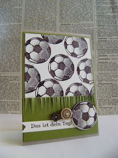 soccer balls in grass card - maybe star punch instead of buttons, especially for a boy.