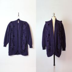 vintage 80s angora cardigan / 1980s cocoon cardigan / purple