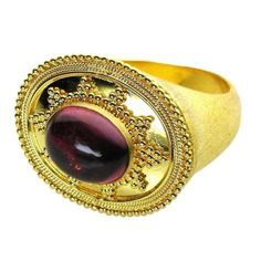 Damaskos Broad Face Tourmaline Ring. 18k Gold and a Tourmalines. See more Greek jewelry at www.athenas-treasures.com
