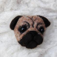 Needle Felted Pug Dog Brooch. $15.00, via Etsy.