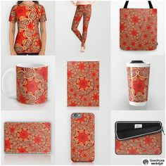 Abstract #Fashion & Accessories - K143 - Red / Orange / Cinnamon Colored Abstract Design on Shirts, Leggings and more at #Society6 by #Gravityx9 #Abstractedness -