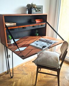 Midcentury redesigned desk from F'anapa design   #60s #PRL #modern #furniture #wood #minimal #hairpin #renovation