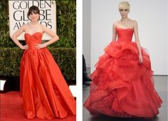 Get the Look: If you liked Zooey Deschanel's red Oscar de la Renta gown at the Golden Gobes, you'll love this ravishing Vera Wang ball gown