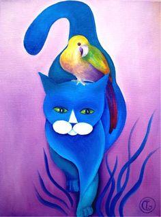 tomcat - Painting,  30x40 cm ©2010 door Tetiana Gorbachenko -  Schilderij, Olie
