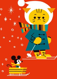 cute retro kitsch childrens winter christmas art illustration cat in the snow Shunsuke Satake