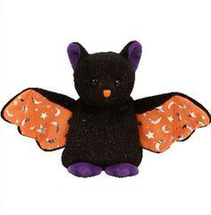Ty Beanie Babies Halloween - Scarem Black Bat Orange Baby Plush - New With Tag #Ty