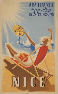 Vintage Travel Beach Posters. JEAN LUC AIR FRANCE / NICE. 1948. www.varaldocosmetica.it/en : the olive oil cosmetics from the Riviera .
