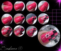 Nail Art Rose Fluo Damier