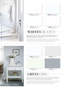 WHITES | Crisp whites provide a fresh clean backdrop for any palette, whether you're adding in bold accents to offset the white or layering more whites for a soothing textured monochromatic look. GREYS | Greys are the new classics. While we do love our whites, greys take neutral to another level. Pair the lighter greys here with the darker ones, or layer them with any of the whites above for a soft but alluring backdrop. #BeautiTone #StyleAtHome
