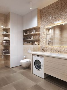 Most Amazing Apartments Bathroom Laundry - Ijcar Bathroom Decor Modern Laundry Rooms, Laundry Room Design, Bathroom Design Small, Bathroom Interior Design, Kid Bathroom Decor, Laundry In Bathroom, Stylish Couple, Modern Apartments, Design Ideas