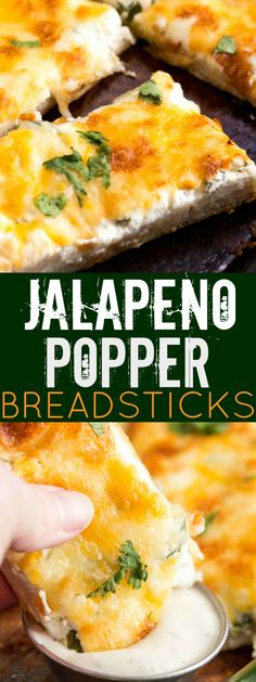 Cheesy, creamy and spicy these Jalapeno Popper Breadsticks are a quick and easy appetizer for game day, a party or along side your favorite pizza!