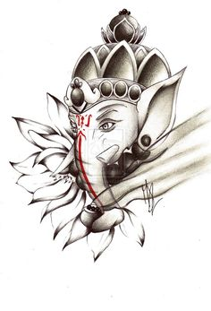 Commission #5: Ganesh Tattoo. by pensierimorti
