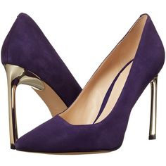 Nine West Kaylee (Dark Purple Suede) Women's Shoes ($89) ❤ liked on Polyvore featuring shoes, pumps, suede pumps, pointed toe pumps, metallic pointed toe pumps, pointy toe pumps and suede slip on shoes
