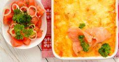 Recette de Gratin de pommes de terre au saumon fumé et fromage blanc. Facile et rapide à réaliser, goûteuse et diététique.