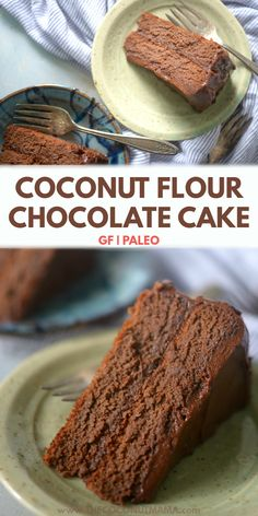 Coconut Flour Chocolate Cake (Paleo, Low Carb + Keto) This coconut flour chocolate cake is perfectly moist with a rich chocolate flavor. You would never know it's gluten-free! Paleo Dessert, Dessert Sans Gluten, Low Carb Desserts, Healthy Sweets, Gluten Free Desserts, Dairy Free Recipes, Healthy Baking, Baking Recipes, Dessert Recipes