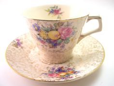 Antique H & K Tunstall Tea Cup And Saucer, Gold Chintz tea cup set, Fine bone china, Fruits and flowers teacup, English bone china.