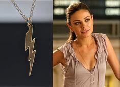 SALE 10% Lightning Bolt Necklace, Gold or Silver Lightning Bolt necklace, Lightning Bolt Charm, Mila Kunis, Celebrity Inspired