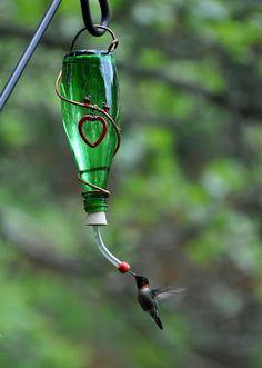 Rebecca's Bird Gardens: Photos and Whats New... Glass Bottle Hummingbird Feeder