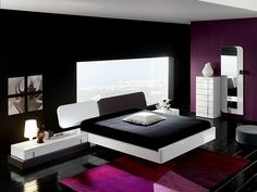 Black Purple Minimalist Bedroom Interior Design