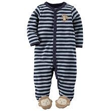 Carter's Boys Navy/Grey Striped Snap Up Terry Footie with a Monkey Applique and Foot Detail
