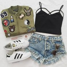 Accesories adidas casual clothes clothing denim fashion girl goals hipster indie jeans lipstick look make-up originals outfit shoes shorts style styling Teenage Outfits, Teen Fashion Outfits, Mode Outfits, Outfits For Teens, Trendy Fashion, Girl Outfits, Sport Fashion, Fashion Fashion, School Outfits Tumblr