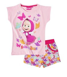 2771c775d2 Masha and the Bear Girls Short Sleeve Summer Outfit Set Shorts T-Shirt -  Pink