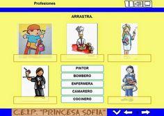 """""""Profesiones"""", elaborado por el profesorado de Educación Infantil del C.E.I.P. Princesa Sofía, de Sanlúcar de Barrameda (Cádiz), es una aplicación que introduce a los niños en el conocimiento de las profesiones mediante la asociación entre imágenes y palabras."""